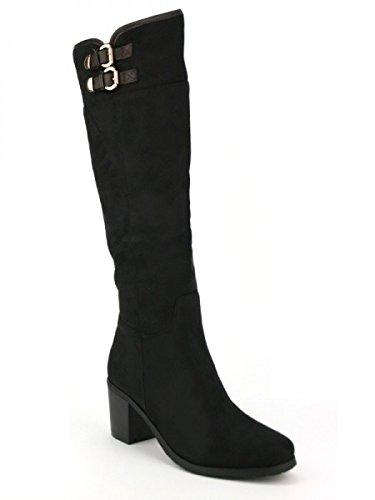 Cendriyon, Botte Noire Peau NATANA Mode Chaussures Femme Noir