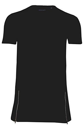 Herren Baumwolle Kurzärmelig Längere Länge Reißverschluss Detail T-shirt Von Brave Soul Schwarz - Schwarz