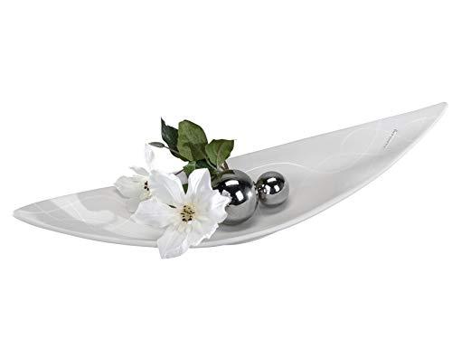 Moderne Deko Schale Obstschale aus Keramik Samunga-weiß Länge 49 cm