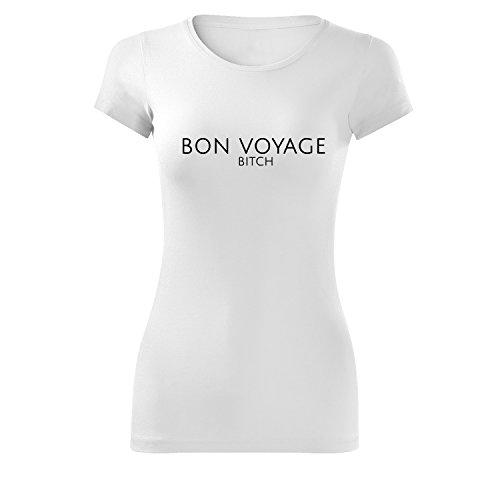 Top per ragazze oversize con motivo slogan bon voyage casual Top lungo 100% cotone (393-Gla-White-XL)