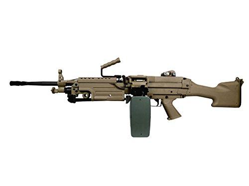 A&K M249 MK2 Vollauto Softair / Airsoft Light Machine Gun Maschinengewehr -TAN- < 0,5 Joule (M249 Airsoft)