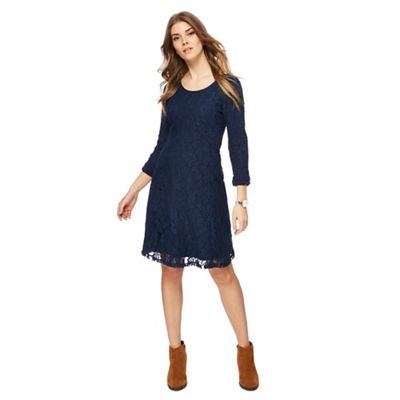 Debenhams Mantaray Womens Navy Jersey Long Sleeves Knee Length Dress from