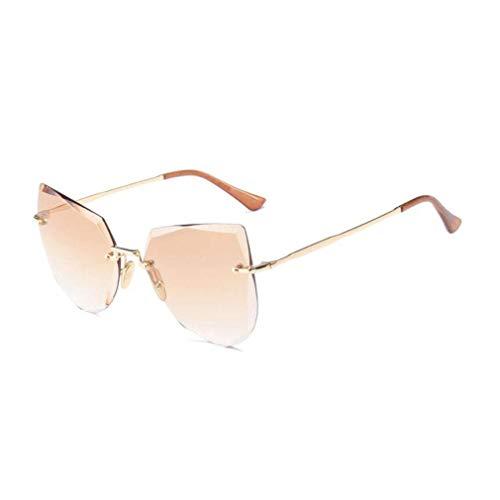 JOLLY Rahmenlose Sonnenbrillen Polarisierte Flip Up Fit Sonnenbrillen Brillen Brillen für Frauen (Farbe : Tea Color)