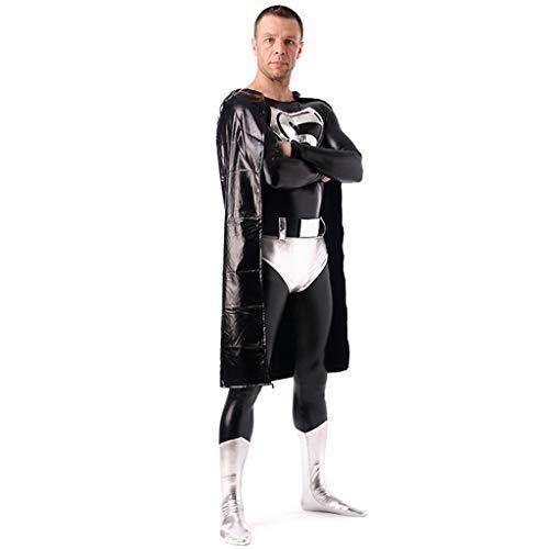 QWEASZER Adult Justice League Schwarz Superman Deluxe Kostüm PS4 Superheld Anime Zentai Kostüme Männer Film Cosplay Kostüm Overall - Superman Deluxe Adult Kostüm