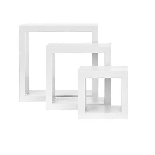 [en.casa]® Juego de 3 estantes para pared - blanco mate lacado MDF - cubos retro - estantería pared