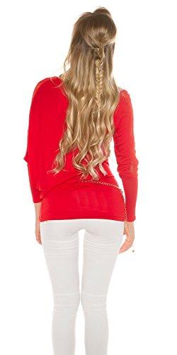 Langarmshirt mit Spitze Rot