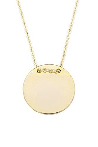 Remi Bijou - 2 cm - Wunderschöne Kette Halskette Anhänger - Gravurplatte Gravur Münze Rund Scheibe - Gold Farbe