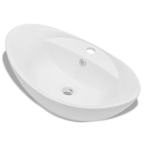 Festnight Luxuriöses Oval Keramik Waschtisch Badezimmer Becken Waschbecken + Überlauf 59 x 40cm