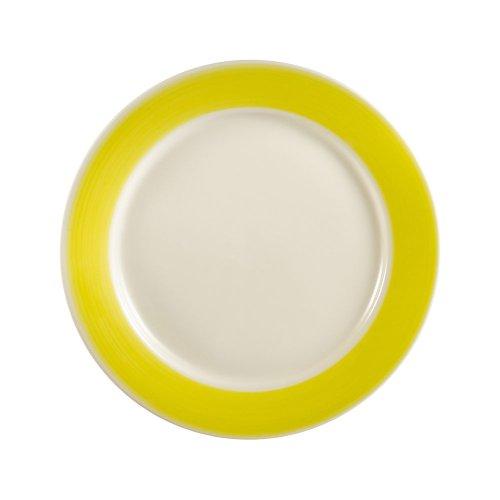 CAC China R-8-YELLOW Rainbow Rolled Edge 9-Inch Yellow Stoneware Round Plate, Box of 24 Rainbow Rolled Edge