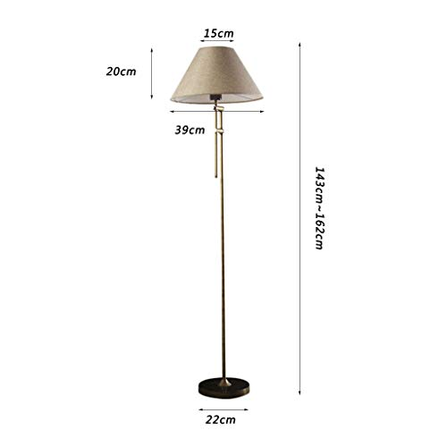 Stehlampe, Amerikanische Land Retro Stehlampe Nordischen Stil Einfache Wohnzimmer Schlafzimmer Studie Kann Eisen Bronze Lampe Hoch 143 ~ 162Cm Anheben Einstellbare Höhe Abnehmbar mit Schalter Boden L -