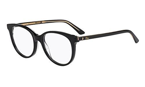 Dior Montures de lunettes MONTAIGNE16 Pour Femme Black / Blue / Transparent Black, 51mm NSI: Black / Crystal