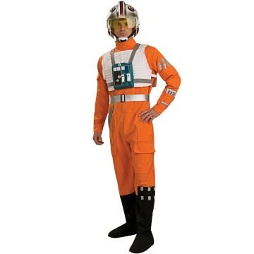 Helm Pilot Fighter Kostüm - Herren X-Wing Fighter Pilot Rubies Star Wars Overall Uniform Outfit Kostüm - Größe M-L