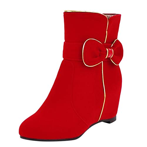 friendGG Damen Ankle Booties Low Heel Western Side Zipper Runde Kappe Volltonfarbe Stiefel Booties Schuhe Hochhackigen Wild Blockabsatz Kurzschaft Stiefeletten High Heel Bequem Absatz GefüTtert