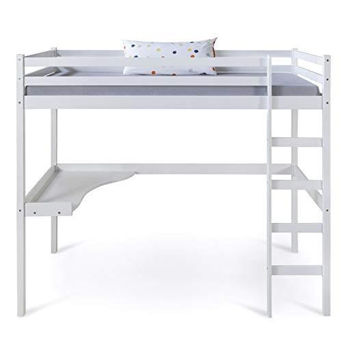 Homestyle4u 1899, Kinder Hochbett mit Schreibtisch, Kinderbett 90x200 cm Weiß, Holz Kiefer -