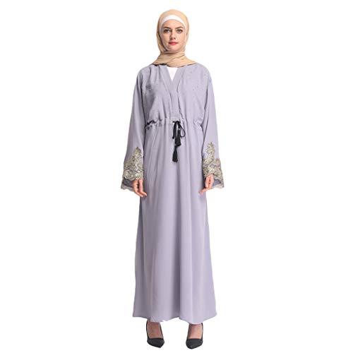 Zegeey Muslimische Damen Robe Kaftan Maxikleid Langarm Rayon Sticken Gewand Formal Modest Abendkleid Große Größe Abaya Dubai Kleider Muslim Frauen Hochzeit Kleid Tunika Kleidung islamischen Kleid