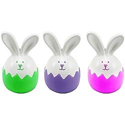 com-four® 3X Conejitos de Pascua en Forma de Huevo en Tres Colores Diferentes, Concha Hecha a Mano con la Mejor dolomita (03 Piezas - Conejito de Pascua)