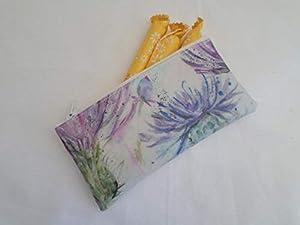 Handmade Oilcloth Tampon Case Holder - Voyage Eileen Donan Thistle Fabric