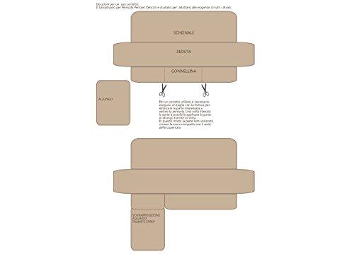BIANCHERIAWEB Copridivano Trapuntato per Divani con Penisola Disegno Cuore Appeso 240-245 cm Beige