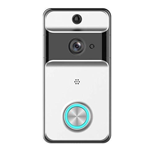 MUTANG Sonnette vidéo sans fil étanche IP53, sonnette WiFi à distance, batterie rechargeable incluse Vidéo en temps réel et conversation bidirectionnelle, vision nocturne, détection de mouvement PIR