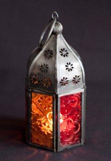 Juego de té de vidrio Tonal marroquí 3 lámparas de luz de color rojo y naranja