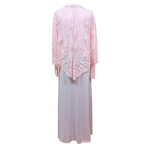 Lace Kaftan (Mitlfuny Indian Muslim Islamic Arab Abaya Jilbab Middle Eastern Ramadan,Lady Lace Schal Kaftan Abaya Langes Kleid Muslimische Islamische Patchwork Maxi Kleidung)