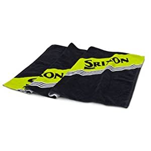 Srixon Golf Bag 100% Cotton Twill Towel With Hook and Grommet in Black/Yellow