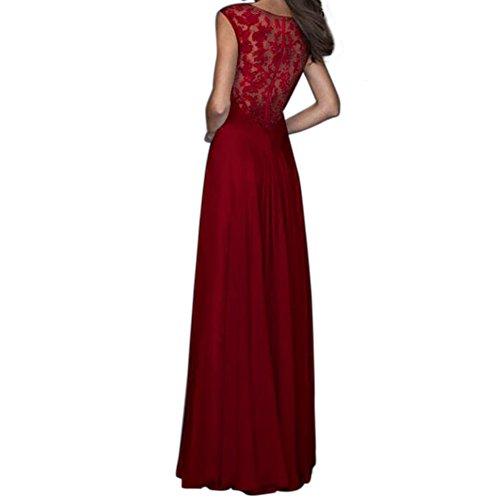 Chouette Femme Robe Haute Taille Maxi Longue en Dentelle Sans Manches Cocktail Haut Plage Soirée Rouge