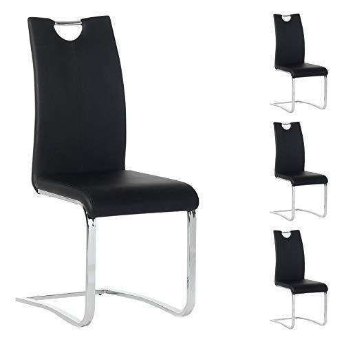 IDIMEX Esszimmerstuhl Schwingstuhl SABA, Set mit 4 Stühlen, Chrom/schwarz