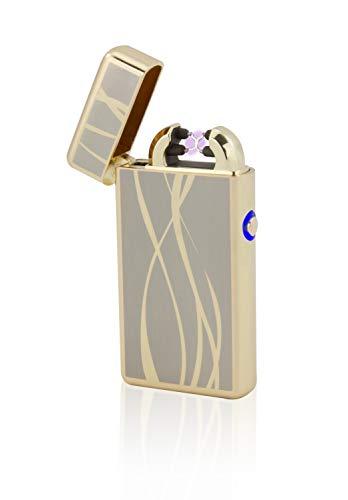 TESLA Lighter T08 | Lichtbogen Feuerzeug, Plasma Double-Arc, elektronisch wiederaufladbar, aufladbar mit Strom per USB, ohne Gas und Benzin, mit Ladekabel, in Edler Geschenkverpackung, Gold Linien
