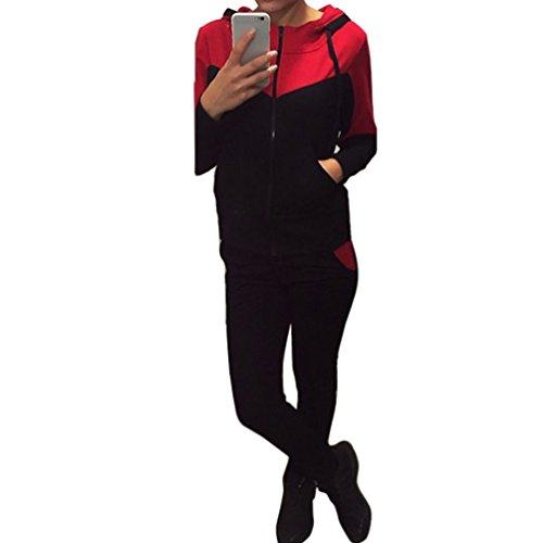 Baymate Donna Maniche Lunghe Casual Tute con Cappuccio Felpa Pullover Pantaloni Rosso