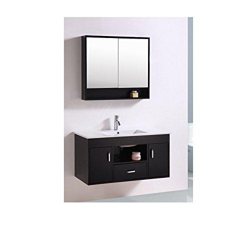 Mon Usine Discount Le Poséidon Wengé : Ensemble meuble de salle de bain en chêne, 1 vasque, 2 miroirs