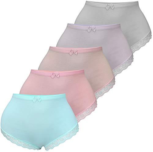 PiriModa 5 Damen Taillen Slips mit Spitze Unterwäsche (52/54, Modell 2)