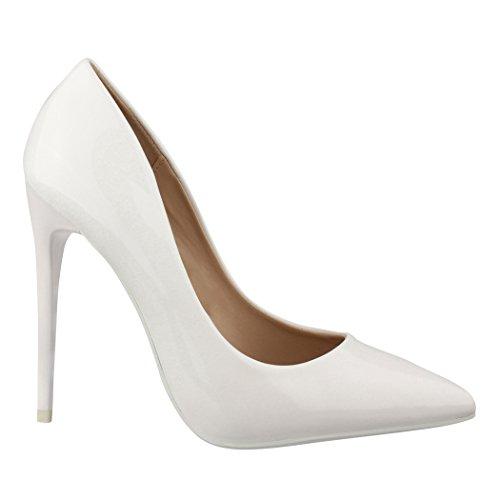 Elara Spitze Damen Pumps | Bequeme Lack Stilettos | Elegante High Heels B-1 Weiss-37