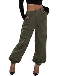 Huihong Damen Casual Hosen Elastische Taille Militär Armee Kampfstrahl Fuß Hose  Taschen Hosen Coole Streetwear Dance 33aeb8d35e