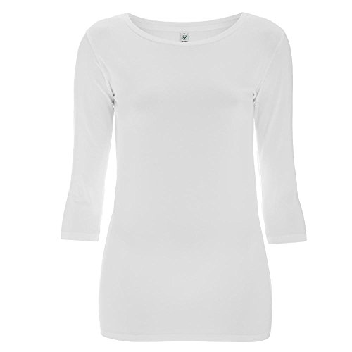 EarthPositive - Women's Organic 3/4 Sleeve Stretch T-Shirt / White, M (Stretch-shirt 3/4 Sleeve)