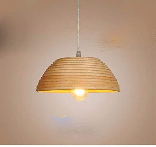 Songdizai Pendelleuchte Kronleuchter Restaurant Licht Einfache Holz Led Bar Rattan Geflochtene Deckenleuchte 30 cm -