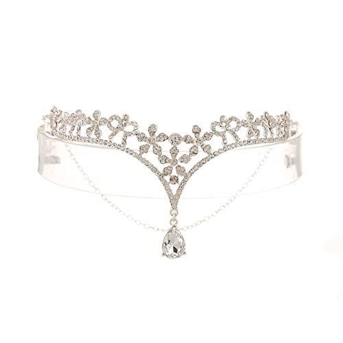Fablcrew 1 Stück Braut Stirn Augenbrauen Hochzeitskopfschmuck Stirnschmuck Size 14.5 * 8cm (Stil 1) (Galadriel Kostüm Kind)