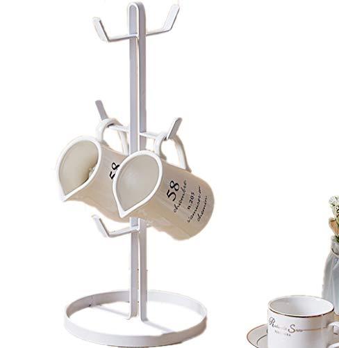 JASNO Retro Eisen Kaffeebecher Halter/Tasse Baum Veranstalter Wäscheständer Stand Für Haus Und Café Bar (Weiß)