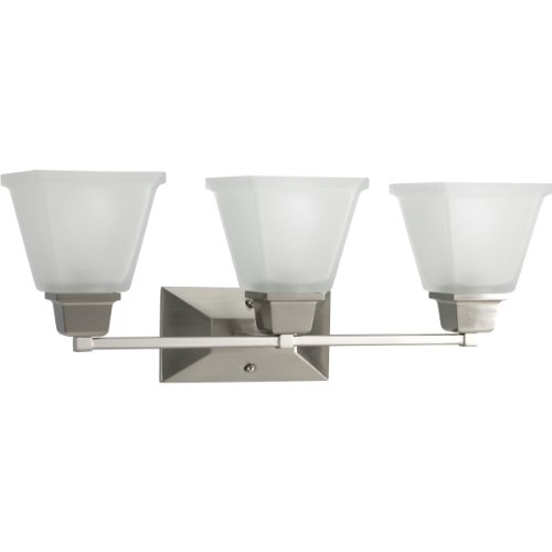 Progress Lighting P2743-09 3-Light Bath Fixture with Square Etched Glass and Can Mount Up or Down, Brushed Nickel by Progress Lighting - Square Bath Lighting