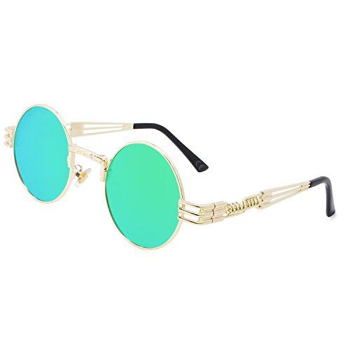 AMZTM Retro Steampunk Verspiegelt Sonnenbrille Klassischer Kreis Hippie Brille für Damen Herren Polarisierte Linse Runder Metallrahmen UV400 Schutz Alte Mode Brille (Golden Rahmen Grün Linse, 49)