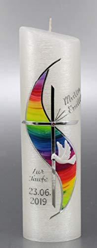 Taufkerze Regenbogen, Junge Mädchen, mit Perlmuttstuktur, silberfarbig 24x6 cm -1026 - mit Namen und Datum, mit Karton zur Aufbewahrung