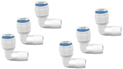 Push-fit Pipe Fittings (Aquatic Life Buddie Fit Winkelbogen 1/4 Zoll Quick Connect x 1/8 Zoll Außenrohrgewinde, 6 Stück Ellbogen, 6,35 mm (1/4 Zoll) QC x MPT 3,1 mm (1/8 Zoll))
