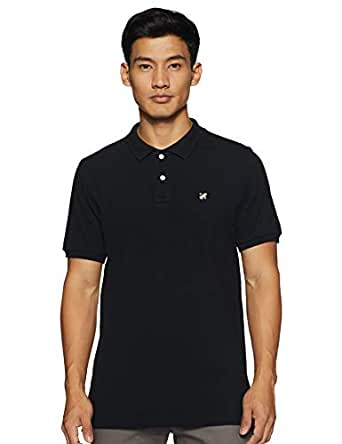 Amazon Brand - House & Shields Men's Regular Fit Cotton Polo T-Shirt (SS19-HSE-01b_ Black_ S)