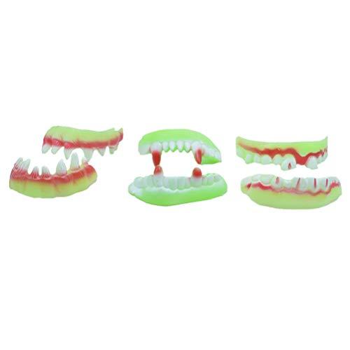 Amosfun Luminous Vampire Zombie Fake Fangs Zähne Künstliche Doppelschicht Zombie Zähne Kunststoff Spielzeug Halloween Scary Dekoration Party Requisiten Halloween Kostüme, Random Style