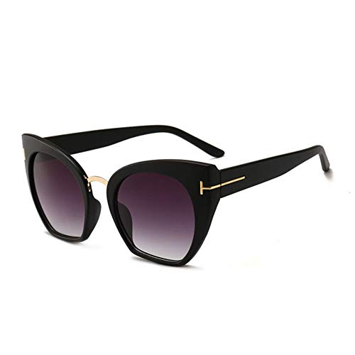RZRCJ Modedesigner Cat Eye Sonnenbrille Frauen Übergroße Sonnenbrille Damen Vintage Female Gradient Point (Lenses Color : Black)