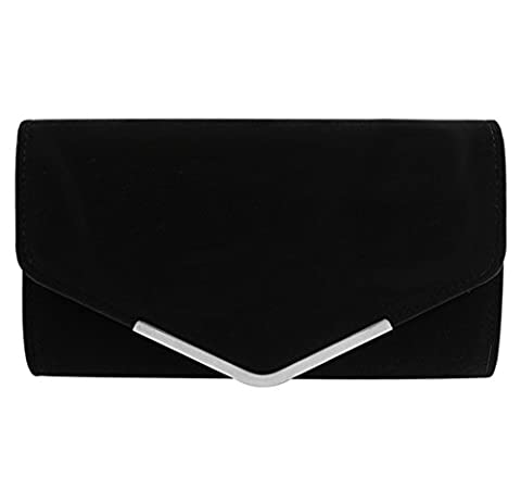 Clorislove Womens Fashion Eveing Party Clutch Handbag Suede Sholder Chain Bag Purse (Black)