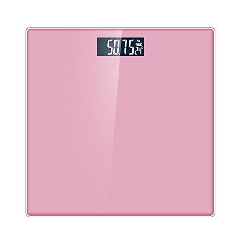 Personenwaage Bewertung (HT Glaswaagen Sehr genau Badezimmer schlankem Design Schlank Gewicht Fett Zahlen Elektronisch Küche Digitale Gesund Gehärtetes Glas Der Bildschirm wird automatisch ein- / ausgeschaltet , Pink , 25cm*25cm*2cm)