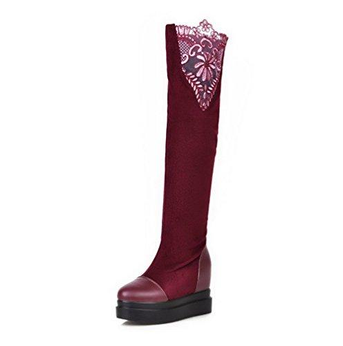 AllhqFashion Damen Rein Ziehen auf Blend-Materialien Rund Zehe Stiefel, Weinrot, 38