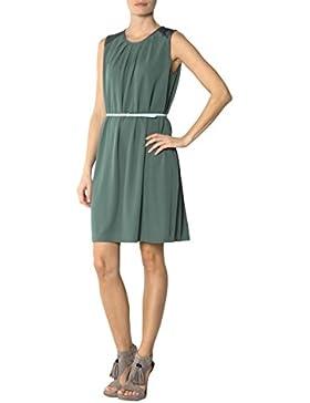 Tommy Hilfiger Damen Kleid Mikrofaser Dress Unifarben, Größe: M, Farbe: Grün