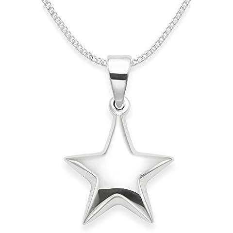 Broche de plata de ley Collar con colgante de Star a presión 50,8 cm cadena - TAMAÑO: 15 millimeter. Caja de